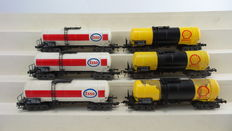 "Fleischmann H0 - 5471/5470 - 6-piece tank carriage set ""Esso&Shell"" of the DB"