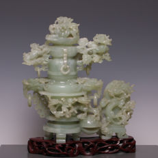Beautiful large, heavy incense burner of carved hardstone, serpentine - China - mid 20th century.
