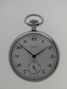 Steel FACIT Open Face Pocket Watch Swiss 1960