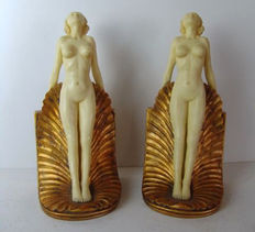 Two stylized ladies in Art Nouveau style, Germany, 2nd half of 20th century.