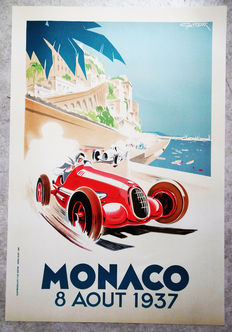 Large serigraphy of the Grand Prix Automobile of Monaco -Geo Ham - 1937