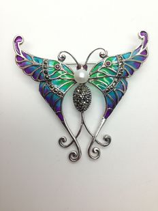 Silver butterfly with precious stones and enamel brooch, pendant