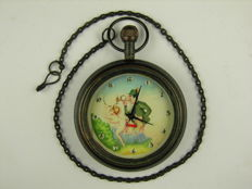 Pocket watch for men with erotic animation - 20th century