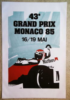Large serigraphy of the Grand Prix Automobile of Monaco - 1985
