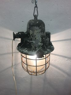 "Mesko metal warehouse  - Large ""Bully"" cage lamp, industrial / factory light"