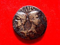 Roman Empire - Augustus (27 B.C.-14 A.D.) and Agrippa bronze dupondius ( 11,78 g. 26 mm), Colonia Nemausus (Nimes, Gaul) mint, 10-14 A,D. COL NEM. Crocodile right, chained to palm tree!