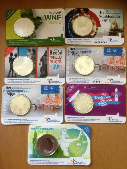 The Netherlands - 5 Euro 2011/2016 in coin cards (14 pieces)