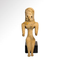 Indus Valley Bichrome Terracotta Mother Goddess Idol, 11 cm H