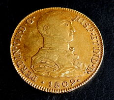 Spain – Fernando VII – Doubloon of 8 escudos Lima JP 1809 – Gold – Rare.