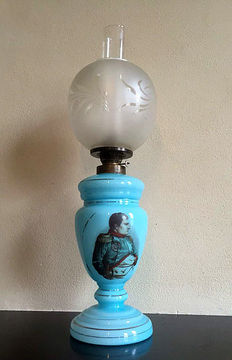 An opaline oil lamp with image of Napoleon - First half of 20th century