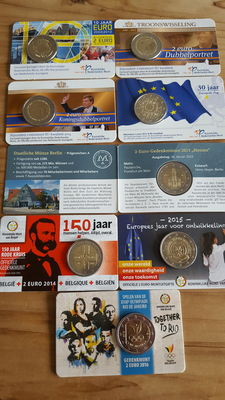 Belgium, Germany and the Netherlands – 2 Euro 2012/2016 (8 pieces) in coin cards.