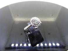 18k Gold Diamond-set Solitaire Ring - 0.50ct / 0.25ct J, SI1 - size 53