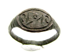 Early Medieval bronze Viking ring with Runic Script on bezel - 19 mm