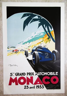Large serigraphy of the Grand Prix Automobile of Monaco -Geo Ham - 1933