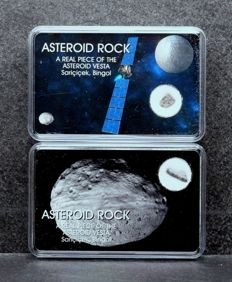 HED Achondrite - Howardite - Stone Meteorite from Asteroid Vesta - Rare Meteorite in specially Collectors design boxes - 35 + 40 mg