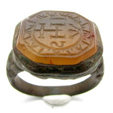 "Bronze Ring with Engraved ""IHS"" on Amber Stone in Bezel - 21 mm"