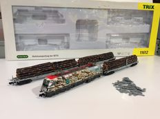 Trix N - 11612 - Timber transport set of SETG electric locomotive with three wagons
