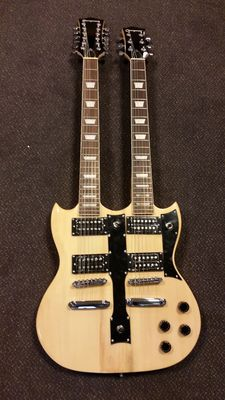 New double-neck natural SG model with 12 and 6 steel strings with bag and cable