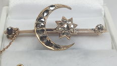 Antique handmade brooch, 14 kt yellow gold, set with rose cut diamonds