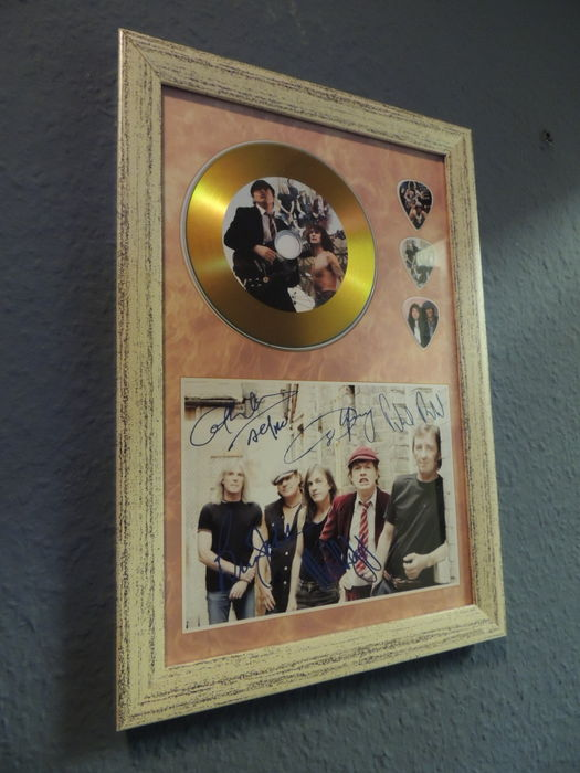 AC/DC Beautiful Signed (in print) Picture Framed Plated Gold Disc Framed