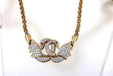 Luxurious necklace 585 14 kt gold swan with brilliants approx. 2.0 ct vvsi TW Rarity
