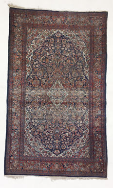 Persian antique and delicate Kashan (entirely natural colours) – 220 x 130 cm