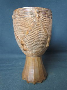 Antique African palm wine cup - KUBA - D.R. Congo