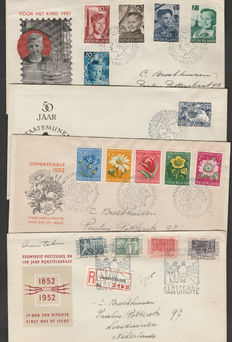 The Netherlands 1951/1952 – Selection FDCs – NVPH E6, E8, E9 en E 10