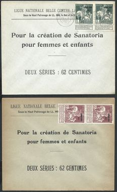 Belgium 1911 – COB nos. 100/107 on 8 letters in favour of sanatoriums