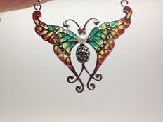 Butterfly necklace with freshwater pearl, rubies and marcasites in sterling silver 925