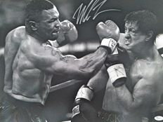 Mike Tyson - Large hand-signed photograph (20 x 16 cm) - Against Rocky Balboa