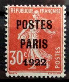 "France 1922 - Yvert no. 32, ""pre-cancelled red 30c Paris 1922 Semeuse"" - Signed JF. Brown."