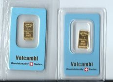 Gold bar of 2x1 grams fine gold 999.9 by Valcambi Suisse
