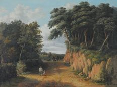 Norwich School (Circa 1850) - A road through the trees with figures and distant village