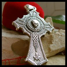 AJS Collection +- 29 Grams Sterling Silver 925 Handmade Masonic Cross Double Sided Skull Pendant Croix 21st Century