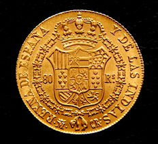 Spain - Elizabeth II - 80 Reales 1834 Madrid CR - Gold