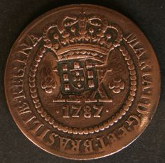 Portugal - D. Joao Prince Regent with D. Maria I small escutcheon stamped on top - XX Reis - 1787 - Brazil