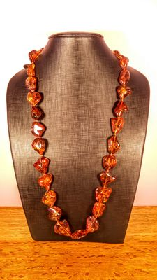 Long Genuine Baltic amber multicolour necklace, Italian style, 94 grams
