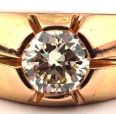Art Deco Unisex Ring with Diamond (0.70 ct) in special-setting of 18K gold,  E.U Size 58/59