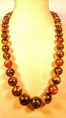 Genuine Baltic amber round bead necklace,  78 grams