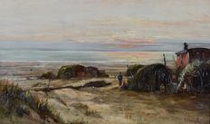 Attributed John H. E. Partington (1843-1899) - A gypsy encampment on the beach.