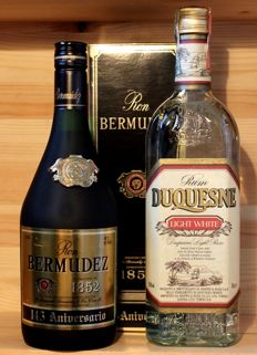 2 Old bottles of Rum: 1. Ron Bermudez Aniversario 750ml, 40%vol. + 2. Rum Duquesne, light white, 70cl, 38%vol.
