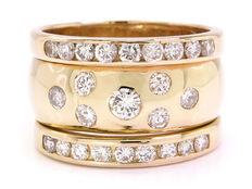 Solid gold diamond ring with 1.71 karat in total / VS2-P1 / G-I colour