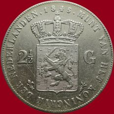 The Netherlands – 2½ guilder coin 1845 Willem II – silver