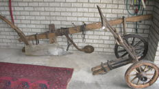 Complete oak Brabant plough from 1845, museum piece-signed