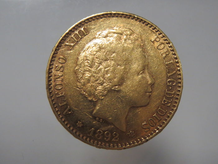 Spain – 20 Pesetas 1892 Alfonso XIII – Gold coin
