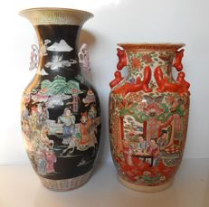 Lot of 2 hand-painted vases – China – Mid 20th century
