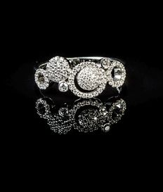 18 Kt. white gold fashion designer dress ring set with diamonds  0.32ct., F/G colour and VS clarity Size: 54/N
