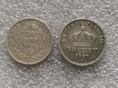 France – 50 cents 'Napoleon III' 1855-A & 1867-A (lot of 2 coins) – Silver