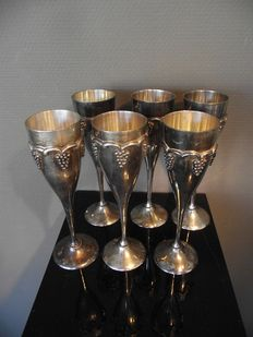 6 pieces heavy antique silver plated bronze champagne glasses-Belgium-mid-20th century